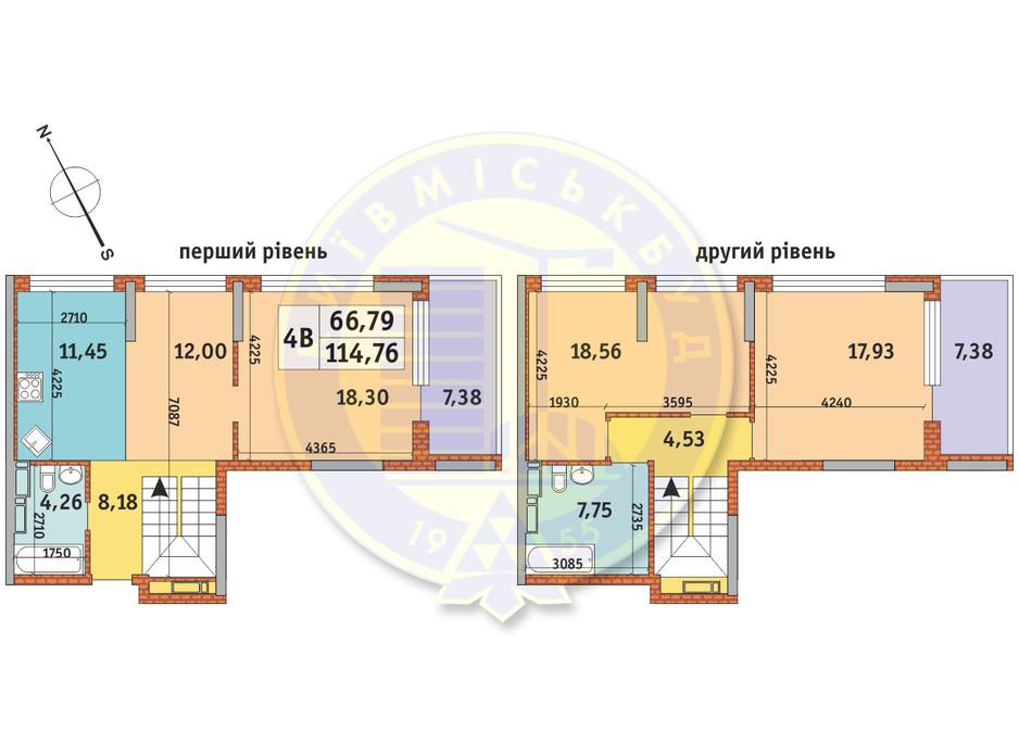 Планування 4-кімнатної квартири в ЖК Урлівський-1 114.76 м², фото 145462