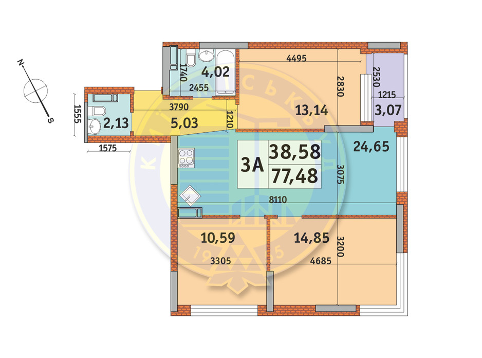 Планування 3-кімнатної квартири в ЖК Урлівський-1 77.48 м², фото 145463