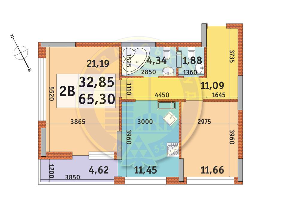 Планировка 2-комнатной квартиры в ЖК Урловский-1 65.3 м², фото 145467