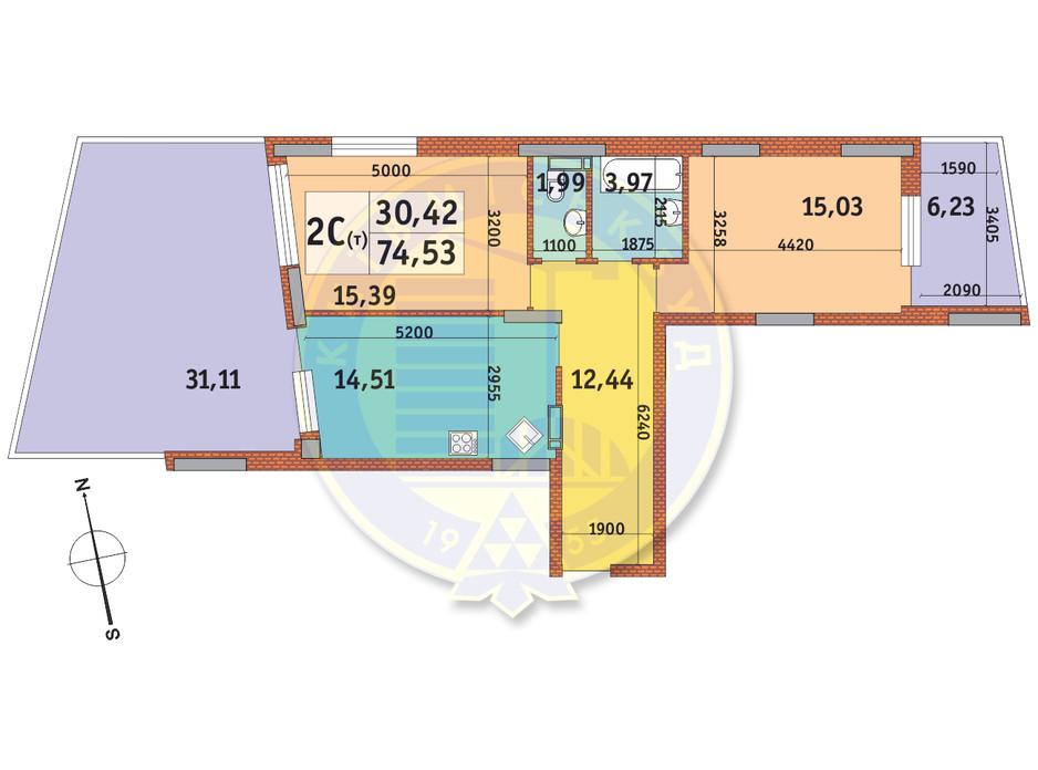 Планировка 2-комнатной квартиры в ЖК Итальянский квартал 74.53 м², фото 145530