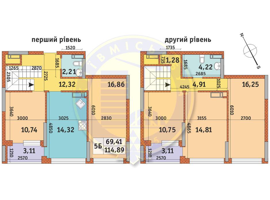 Планування 5-кімнатної квартири в ЖК Урлівський-1 114.89 м², фото 145634