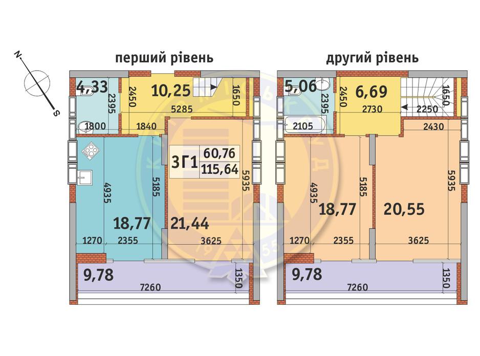 Планування 3-кімнатної квартири в ЖК Медовий-2 115.64 м², фото 145907