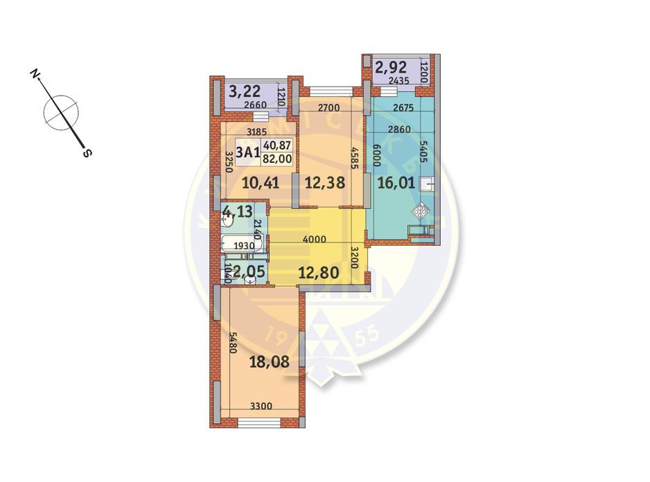 Планування 3-кімнатної квартири в ЖК Медовий-2 82 м², фото 145945