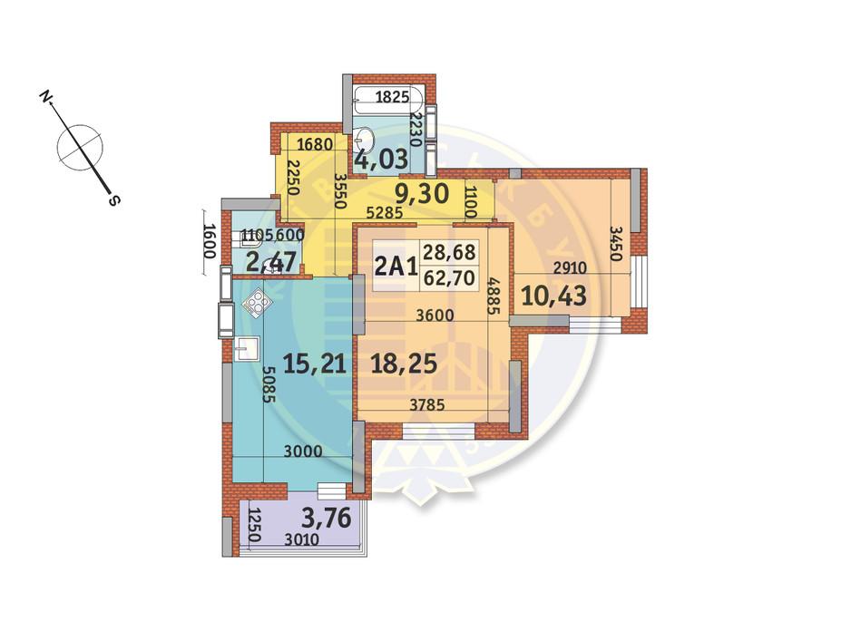 Планування 2-кімнатної квартири в ЖК Медовий-2 62.7 м², фото 145960