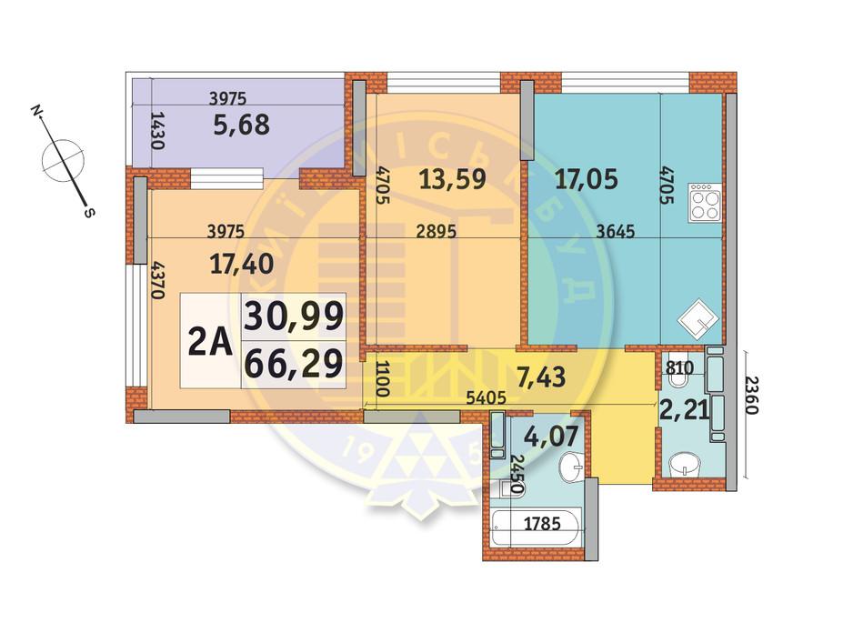 Планування 2-кімнатної квартири в ЖК Урлівський-1 66.29 м², фото 145998
