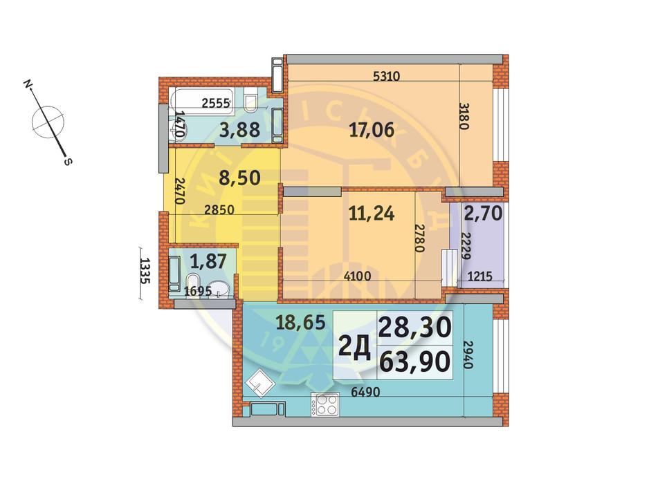 Планування 2-кімнатної квартири в ЖК Урлівський-1 63.9 м², фото 146026