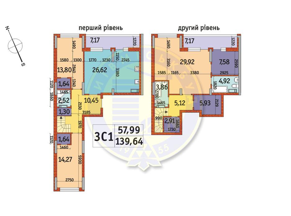 Планировка 3-комнатной квартиры в ЖК Отрада 139.64 м², фото 146040