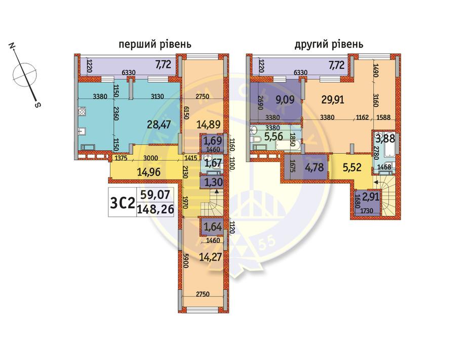 Планировка 3-комнатной квартиры в ЖК Отрада 148.26 м², фото 146042