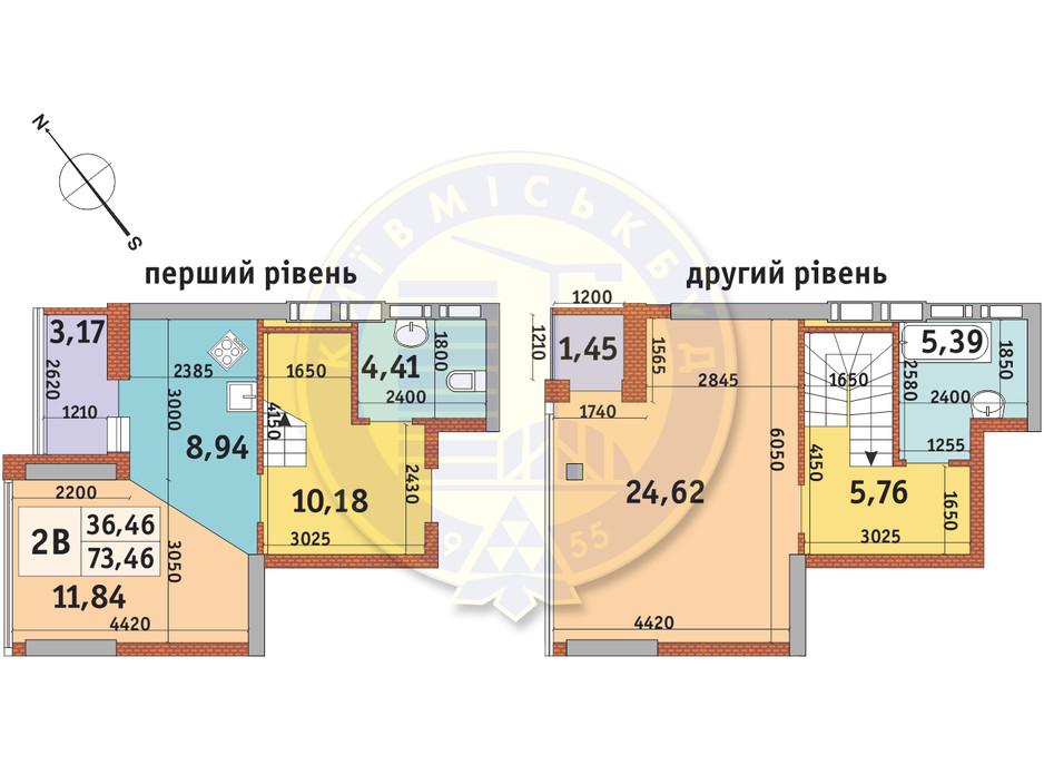 Планировка 2-комнатной квартиры в ЖК Абрикосовый 73.46 м², фото 146095