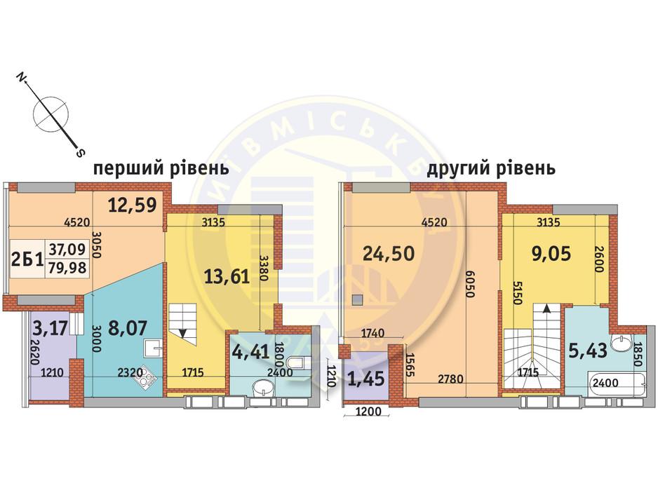 Планування 2-кімнатної квартири в ЖК Абрикосовий 79.98 м², фото 146097