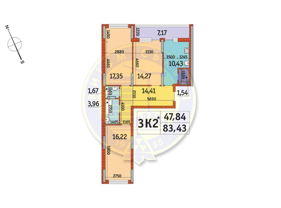 Планування 3-кімнатної квартири в ЖК Отрада 83.43 м², фото 146118