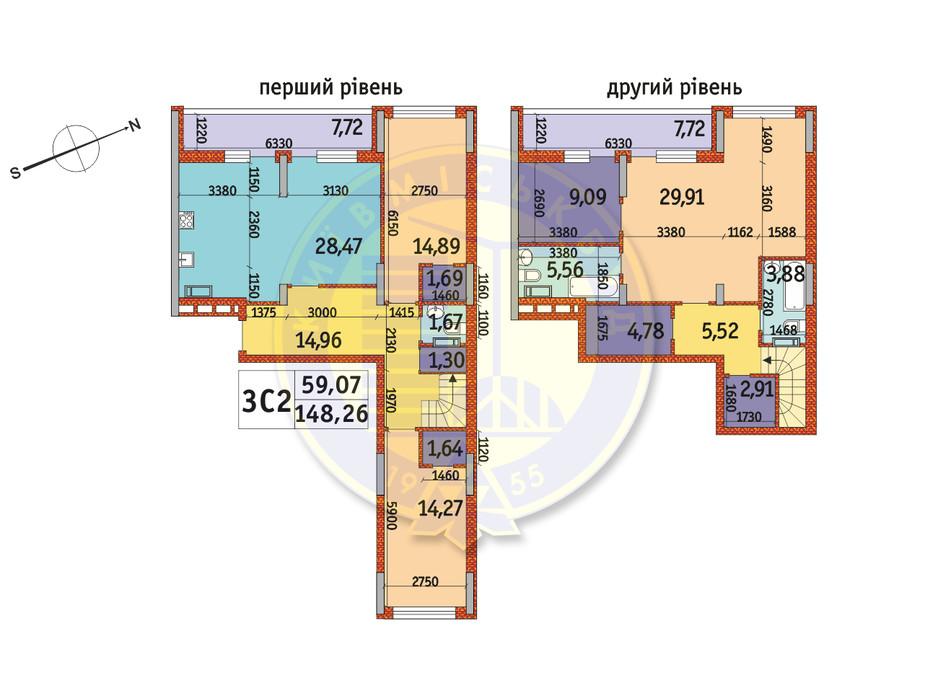 Планировка 3-комнатной квартиры в ЖК Отрада 148.26 м², фото 146189