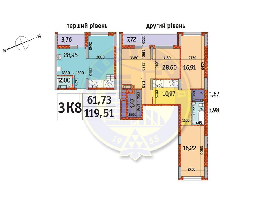 Планування 3-кімнатної квартири в ЖК Отрада 119.51 м², фото 146240