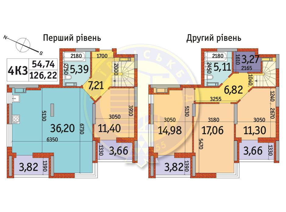 Планування 4-кімнатної квартири в ЖК Отрада 126.22 м², фото 146321