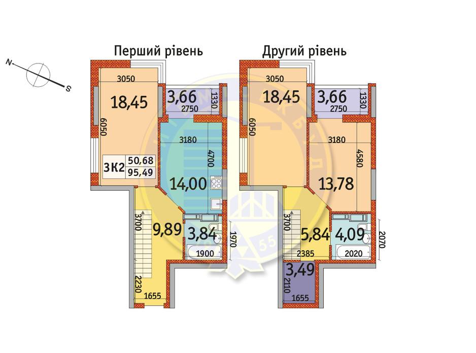 Планування 3-кімнатної квартири в ЖК Отрада 95.49 м², фото 146398