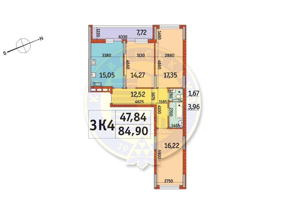 Планировка 3-комнатной квартиры в ЖК Отрада 84.9 м², фото 146423