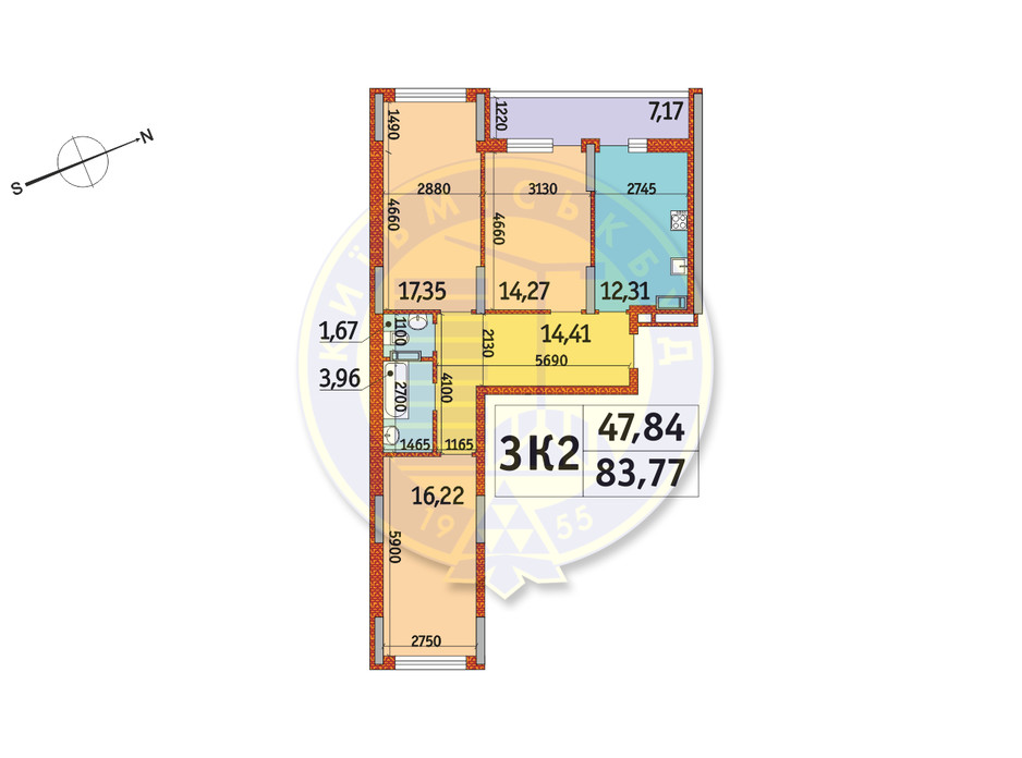 Планування 3-кімнатної квартири в ЖК Отрада 83.77 м², фото 146424