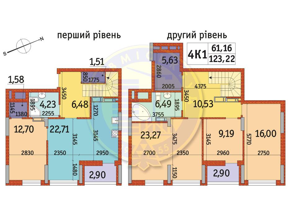 Планування 4-кімнатної квартири в ЖК Отрада 123.22 м², фото 146489