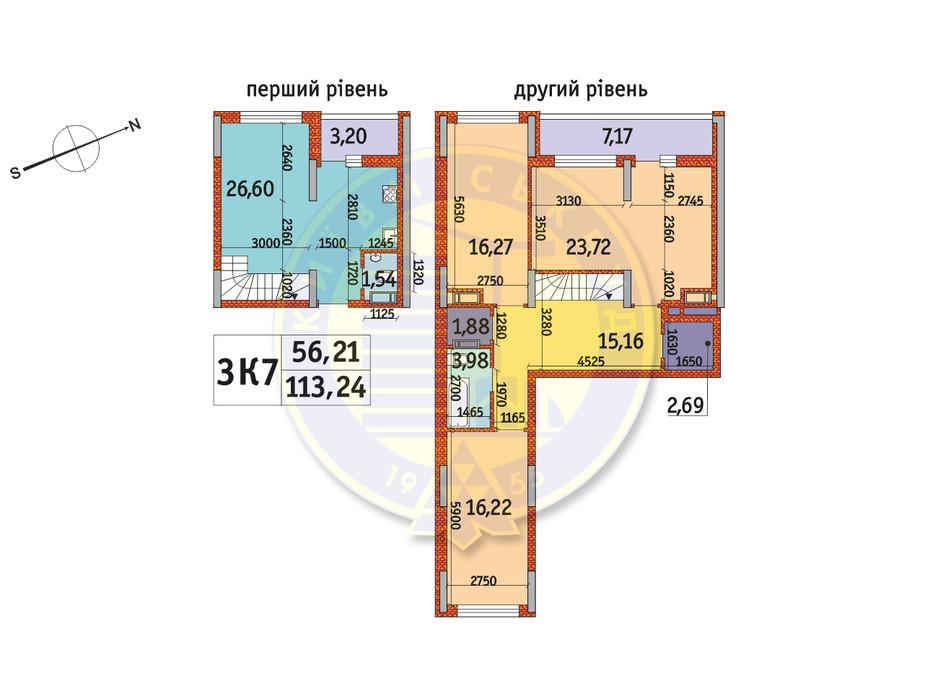 Планировка 3-комнатной квартиры в ЖК Отрада 113.24 м², фото 146525