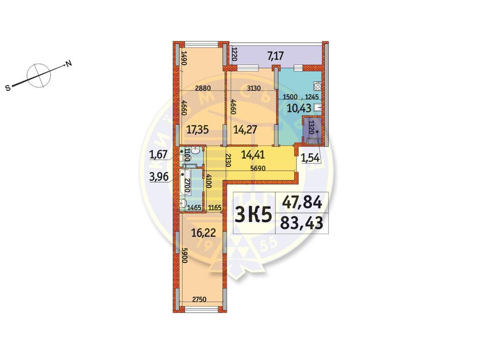 Планировка 3-комнатной квартиры в ЖК Отрада 83.43 м², фото 146566