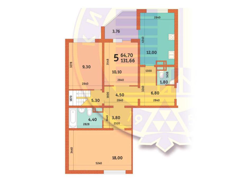 Планировка 5-комнатной квартиры в ЖК Новомостицко-Замковецкий 131.66 м², фото 146578