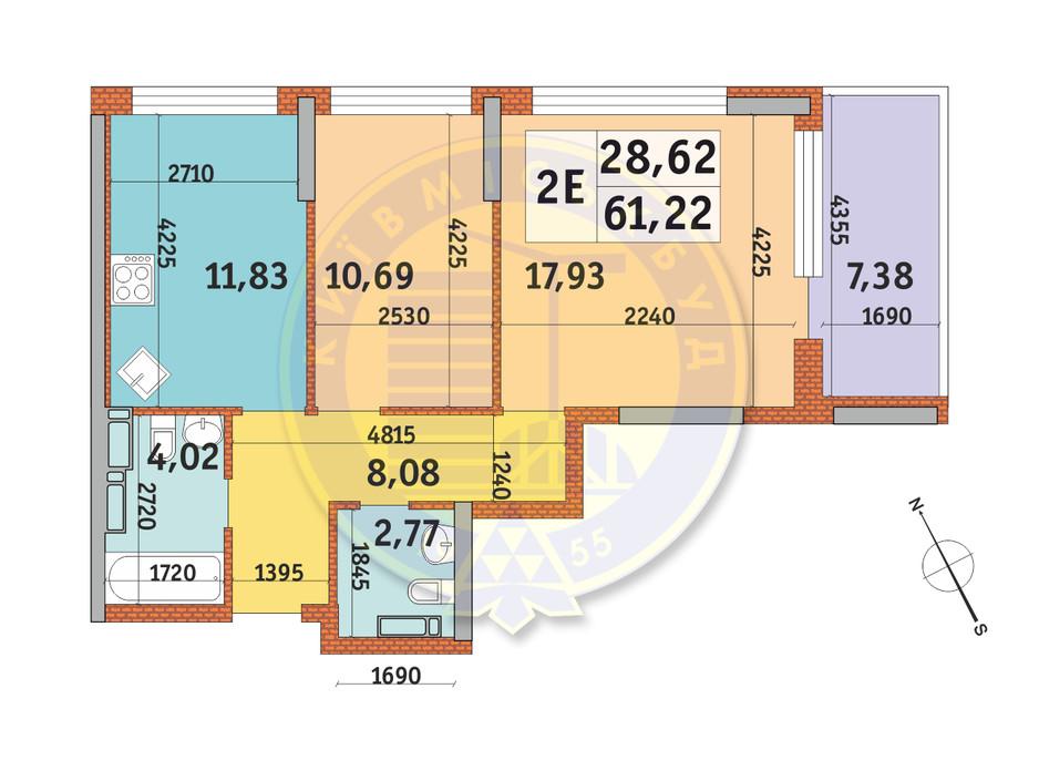 Планування 2-кімнатної квартири в ЖК Урлівський-1 61.22 м², фото 146647
