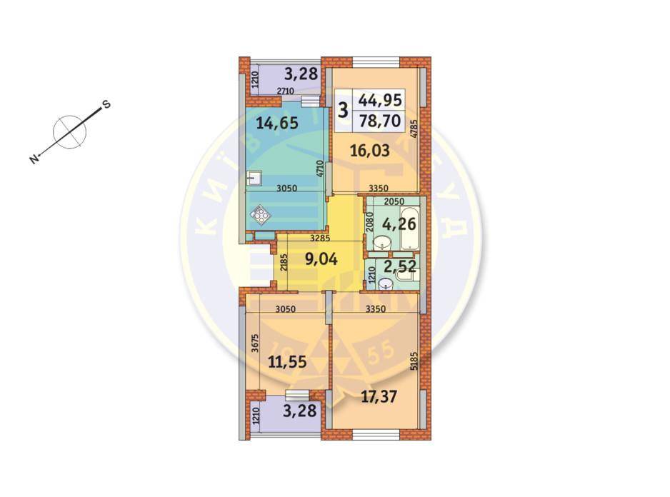 Планування 3-кімнатної квартири в ЖК «Медовий» 78.7 м², фото 146669