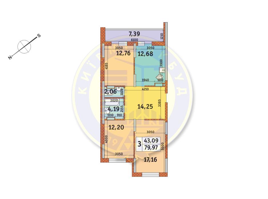 Планування 3-кімнатної квартири в ЖК «Медовий» 79.97 м², фото 146685