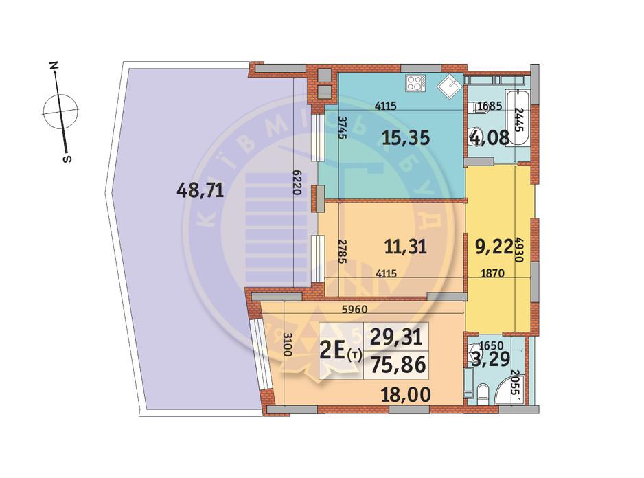 Планировка 2-комнатной квартиры в ЖК Итальянский квартал 75.86 м², фото 146727