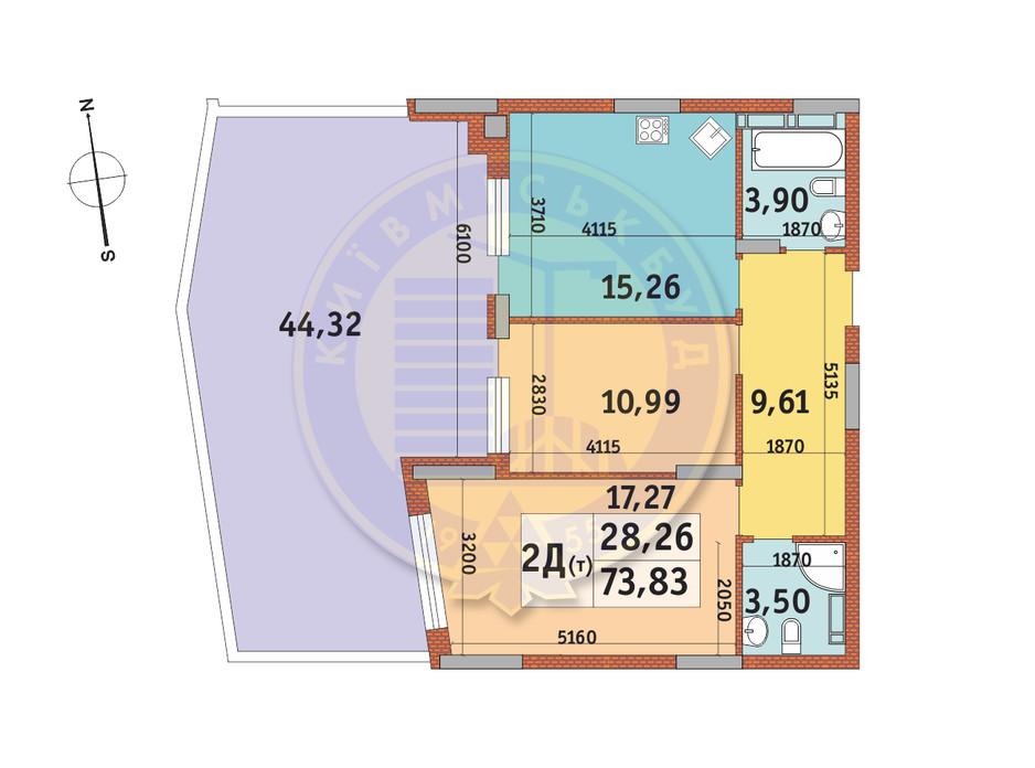 Планировка 2-комнатной квартиры в ЖК Итальянский квартал 73.83 м², фото 146728