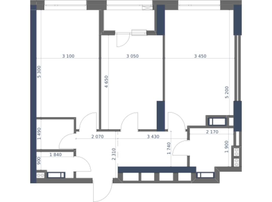 Планування 2-кімнатної квартири в ЖК «Метрополіс» 71.5 м², фото 147281