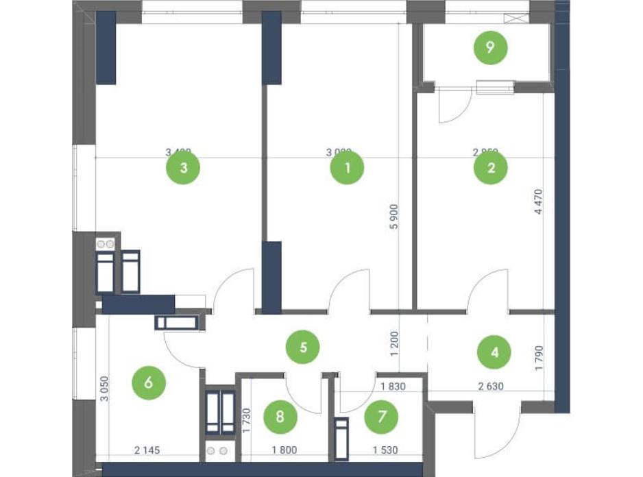 Планування 2-кімнатної квартири в ЖК «Метрополіс» 74.51 м², фото 147283