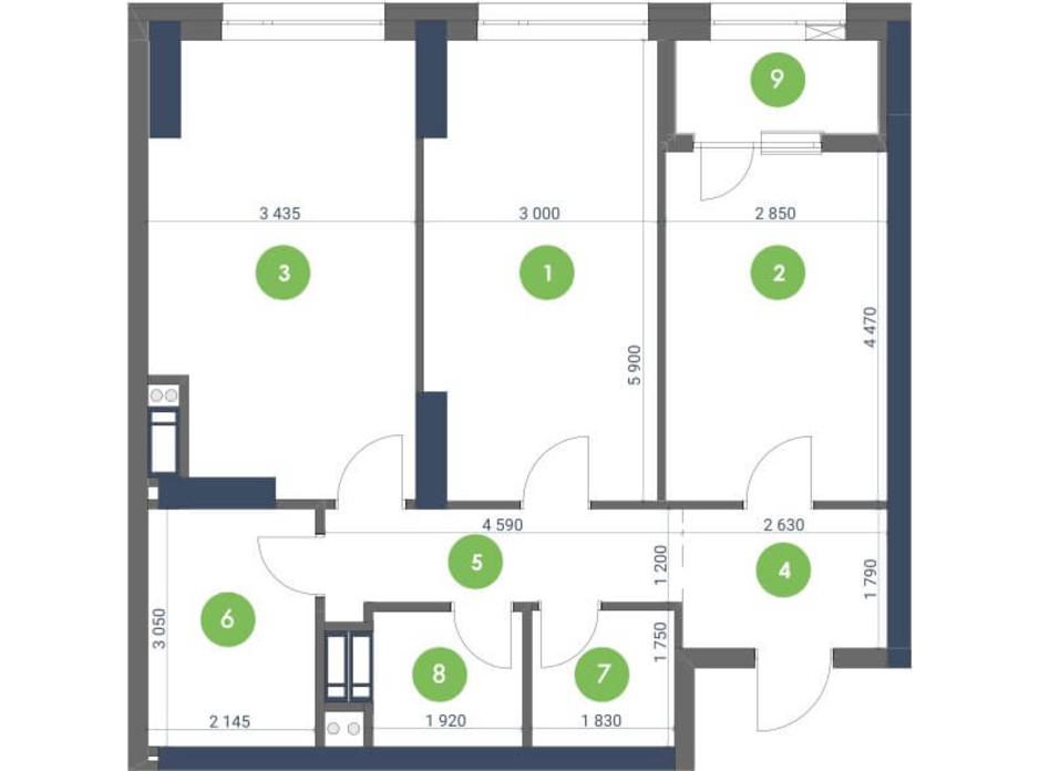 Планування 2-кімнатної квартири в ЖК «Метрополіс» 71.65 м², фото 147284