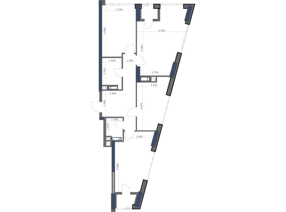 Планування 3-кімнатної квартири в ЖК «Метрополіс» 93.17 м², фото 147286