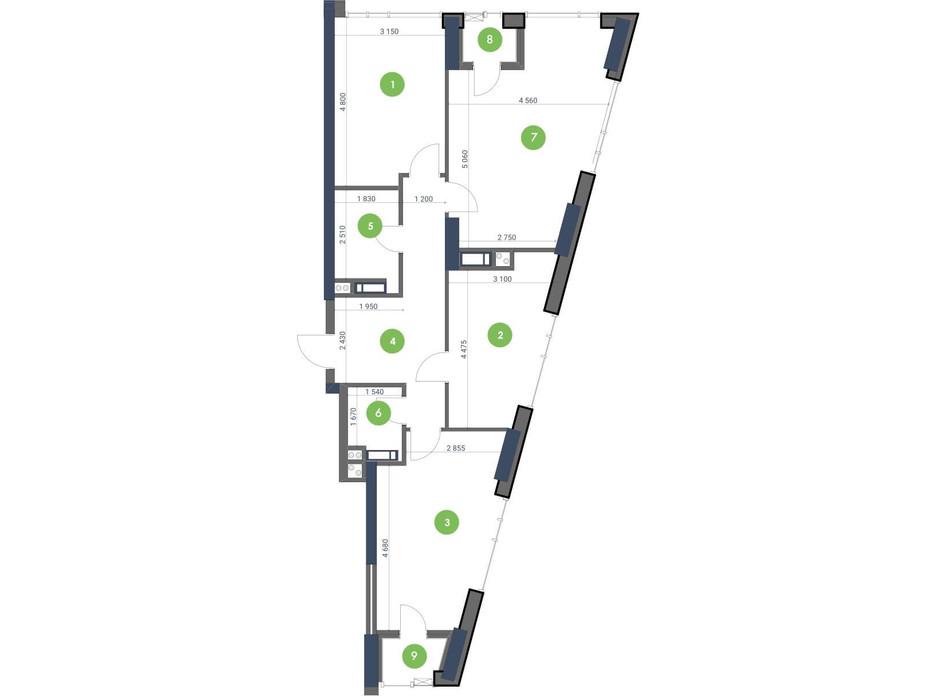 Планування 3-кімнатної квартири в ЖК «Метрополіс» 93.21 м², фото 147287