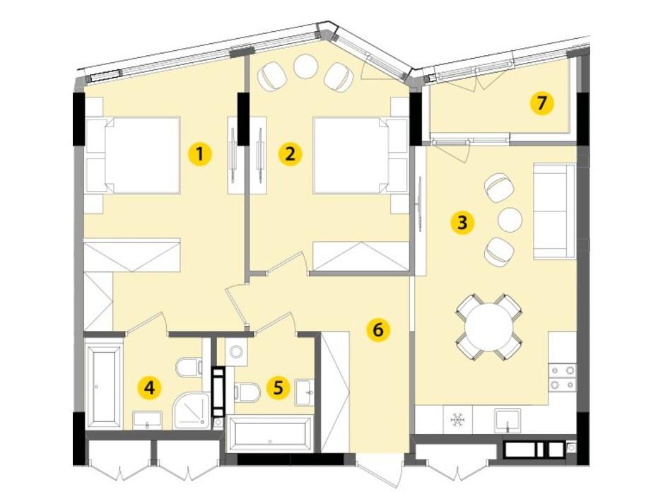 Планировка 2-комнатной квартиры в ЖК Lucky Land 73.01 м², фото 147342