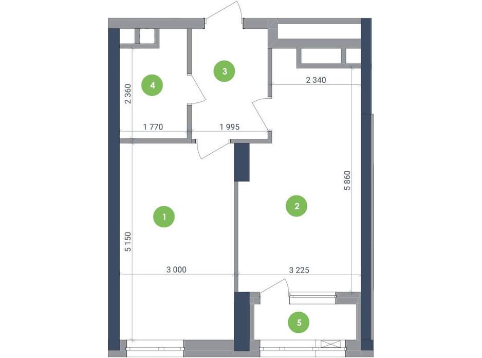 Планування 1-кімнатної квартири в ЖК «Метрополіс» 48.06 м², фото 147404