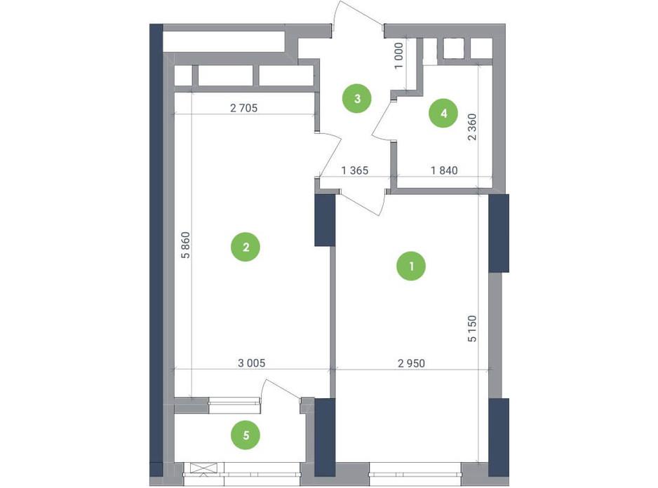 Планування 1-кімнатної квартири в ЖК «Метрополіс» 45.39 м², фото 147415