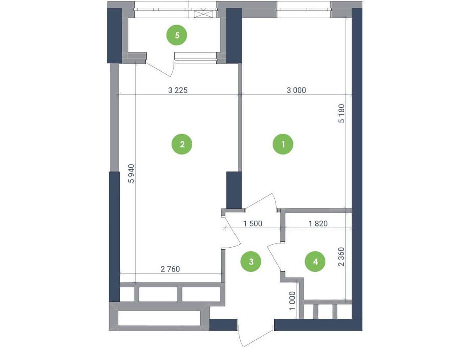 Планування 1-кімнатної квартири в ЖК «Метрополіс» 47.45 м², фото 147425