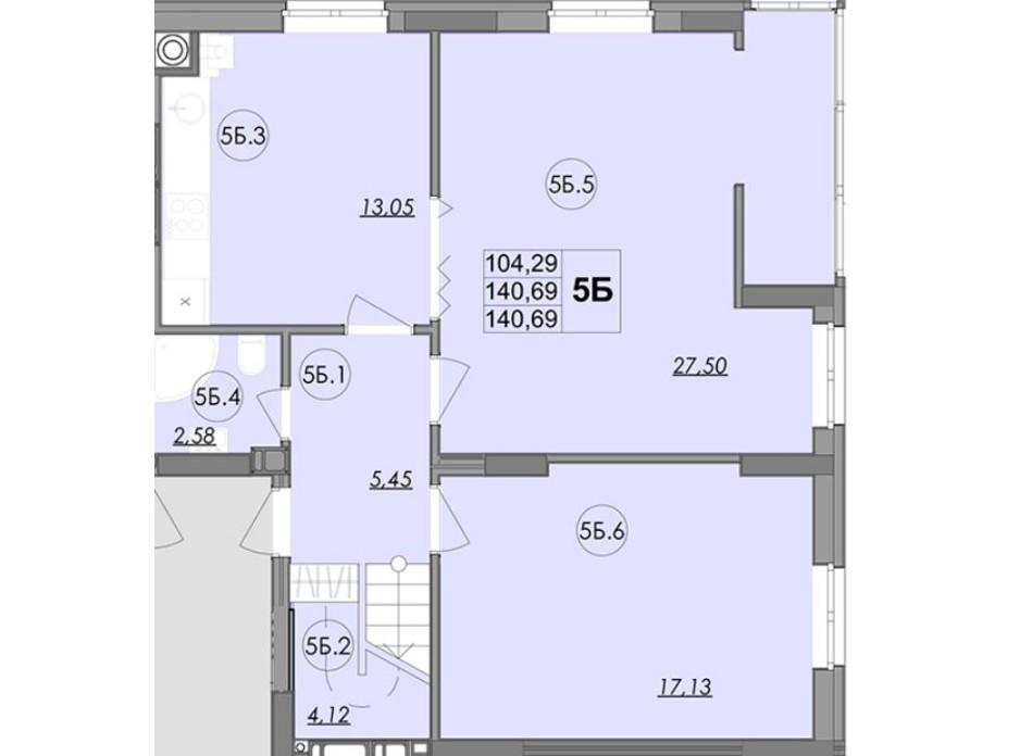 Планування багаторівневої квартири в ЖК Panorama 140.69 м², фото 147860