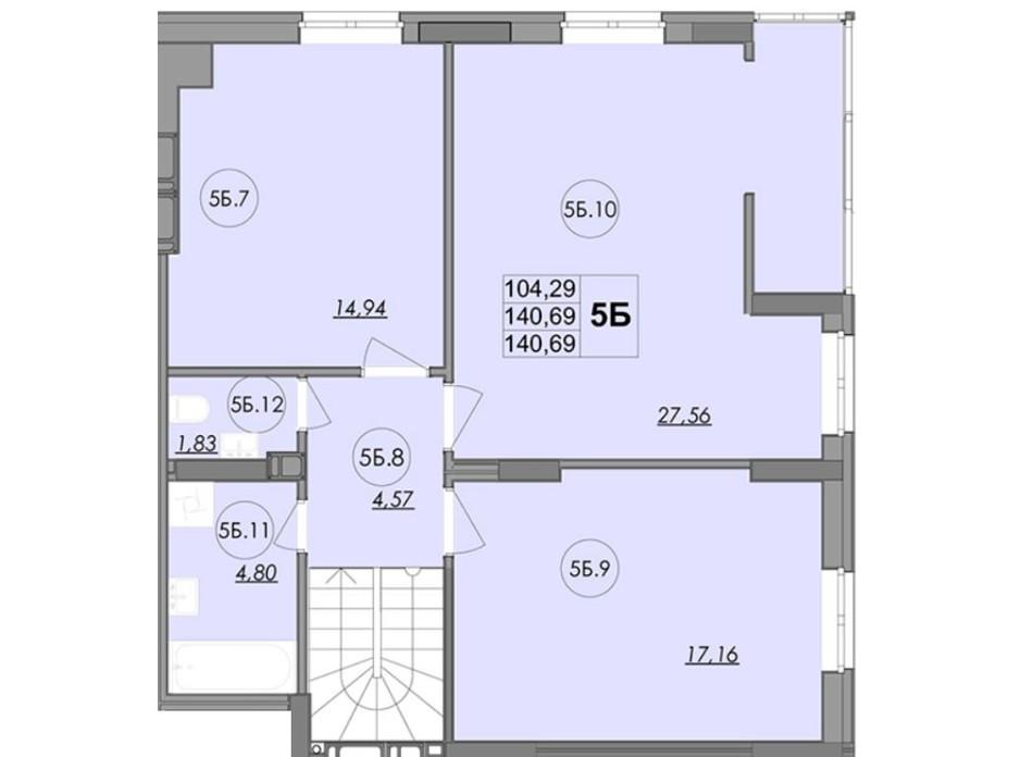 Планування багаторівневої квартири в ЖК Panorama 140.69 м², фото 147861