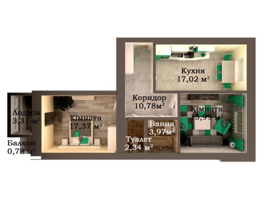 Планировка 2-комнатной квартиры в ЖК Caramel Residence 71.56 м², фото 147868