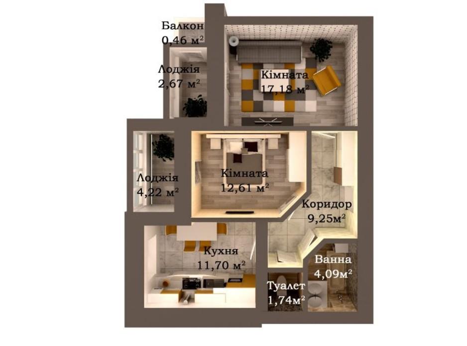 Планування 2-кімнатної квартири в ЖК Caramel Residence 63.92 м², фото 147872