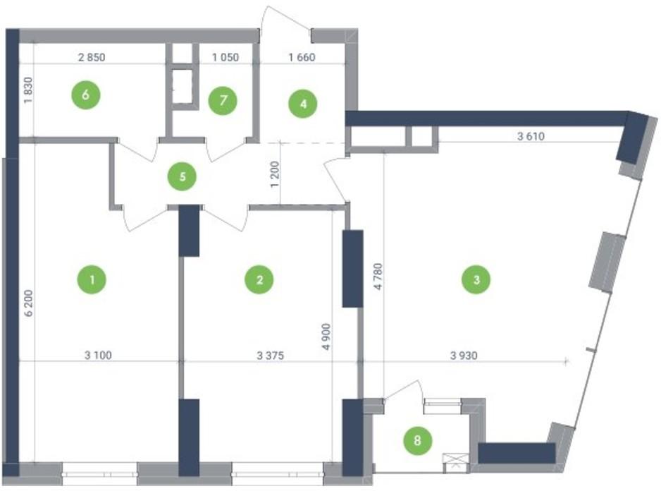 Планування 2-кімнатної квартири в ЖК «Метрополіс» 81.11 м², фото 147908