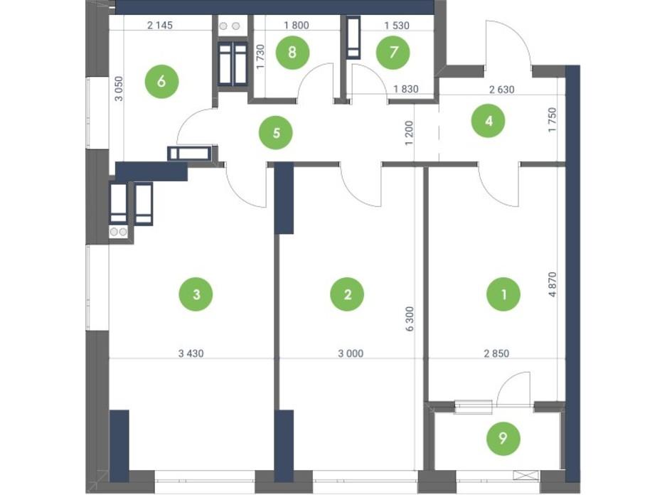 Планування 2-кімнатної квартири в ЖК «Метрополіс» 78.24 м², фото 147909