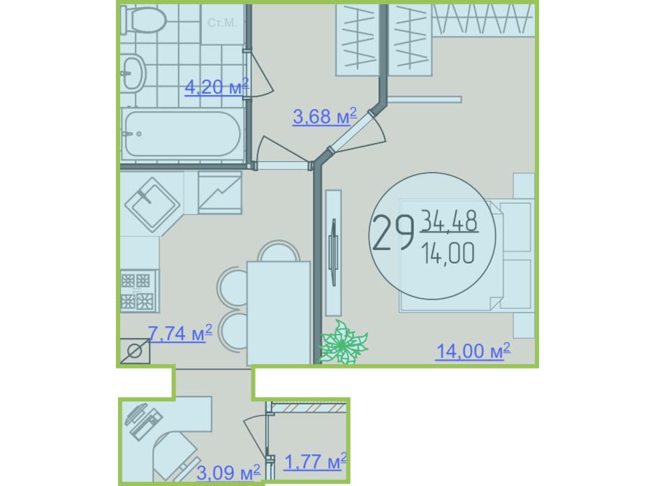 Планування 1-кімнатної квартири в ЖК Кемпінг Сіті 34.48 м², фото 148245