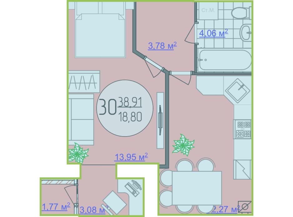Планування 1-кімнатної квартири в ЖК Кемпінг Сіті 38.91 м², фото 148250
