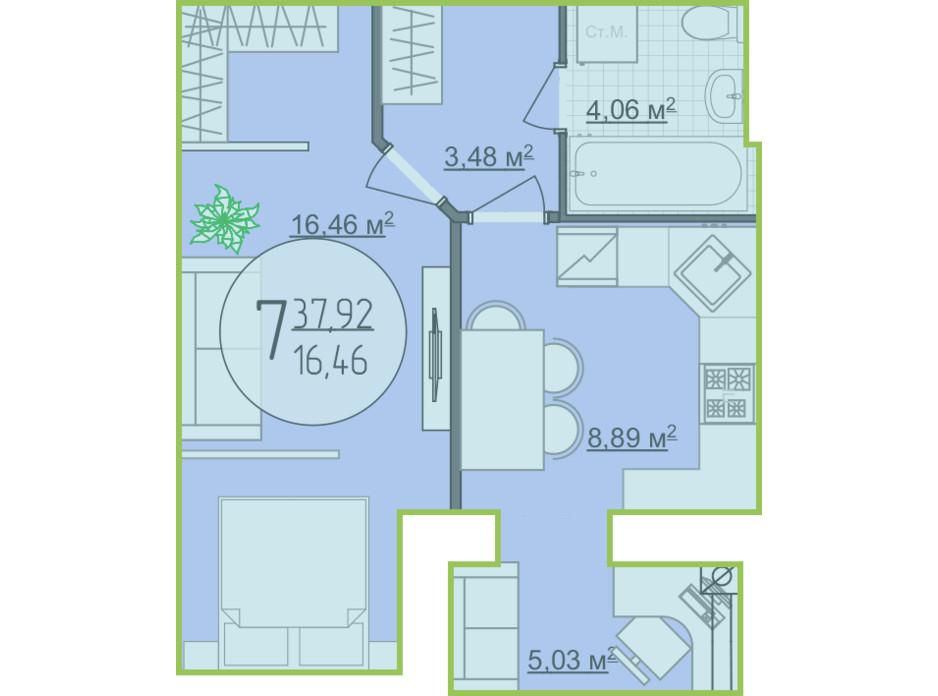 Планування 1-кімнатної квартири в ЖК Кемпінг Сіті 37.92 м², фото 148257