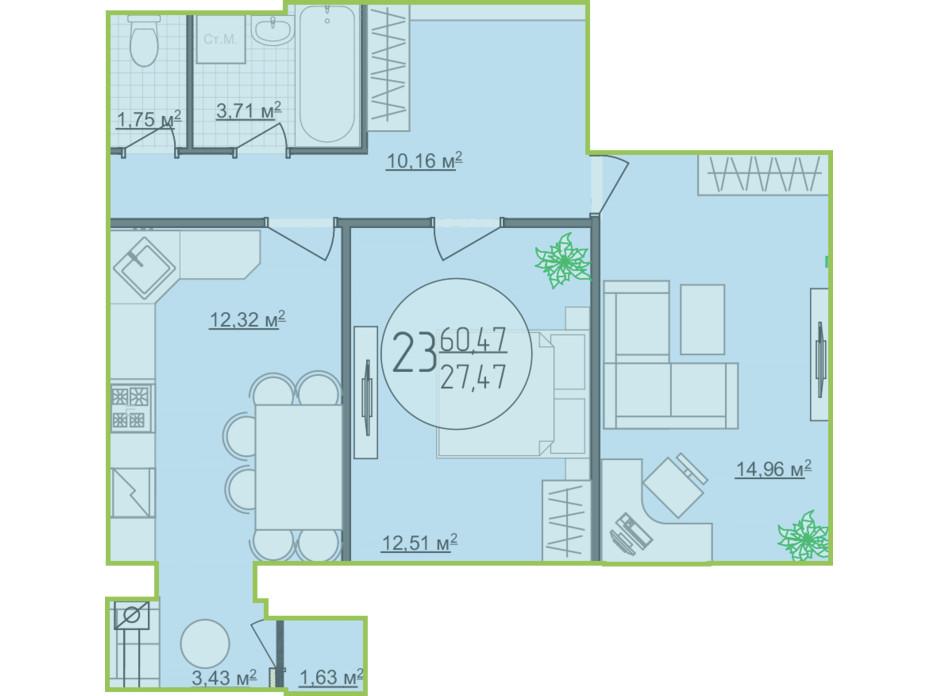 Планування 2-кімнатної квартири в ЖК Кемпінг Сіті 60.47 м², фото 148265