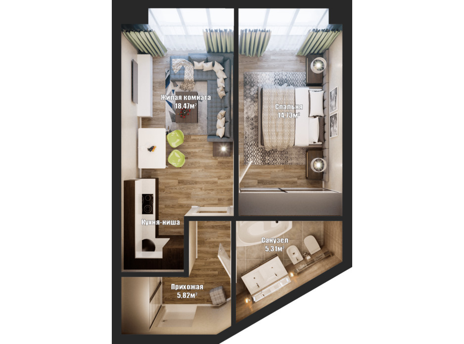Планировка 1-комнатной квартиры в ЖК Bartolomeo Resort Town 45.89 м², фото 148554